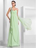 preiswerte Abendkleider-Eng anliegend Ein-Schulter Boden-Länge Chiffon Abiball / Formeller Abend Kleid mit Applikationen / Drapiert durch TS Couture®