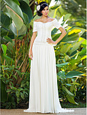 cheap Wedding Dresses-Sheath / Column Off Shoulder Sweep / Brush Train Chiffon Made-To-Measure Wedding Dresses with Beading / Ruched / Flower by LAN TING BRIDE®