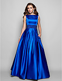 cheap Evening Dresses-A-Line Boat Neck Floor Length Satin Formal Evening Dress with Beading / Pleats by TS Couture®