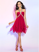 cheap Prom Dresses-A-Line Y Neck Short / Mini Chiffon Cocktail Party / Homecoming Dress with Crystals / Ruched by TS Couture® / Sparkle & Shine / Open Back