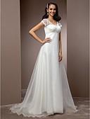baratos Vestidos de Casamento-Linha A Decote V Cauda Corte Renda / Organza Vestidos de casamento feitos à medida com Miçangas de LAN TING BRIDE® /   Ilusão