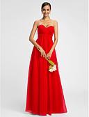 hesapli Nedime Elbiseleri-A-Şekilli Kalp Yaka Yere Kadar Şifon Haç ile Nedime Elbisesi tarafından LAN TING BRIDE®