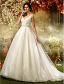 preiswerte Hochzeitskleider-A-Linie / Prinzessin V-Ausschnitt Pinsel Schleppe Tüll / Pailletten Maßgeschneiderte Brautkleider mit Perlenstickerei / Paillette /