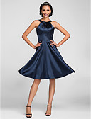 cheap Bridesmaid Dresses-A-Line Jewel Neck Knee Length Stretch Satin Bridesmaid Dress with Side Draping by LAN TING BRIDE®