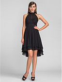 cheap Prom Dresses-A-Line Halter Neck Asymmetrical Chiffon Little Black Dress / High Low / Keyhole Cocktail Party Dress with Pleats by TS Couture®