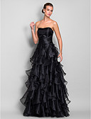 cheap Prom Dresses-A-Line Sweetheart Neckline Floor Length Organza Vintage Inspired Prom / Formal Evening Dress with Cascading Ruffles / Ruched by TS Couture®