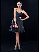 preiswerte Cocktailkleider-A-Linie Spaghetti-Träger Kurz / Mini Taft Kleines Schwarzes Kleid Cocktailparty Kleid mit Kristall Verzierung / Schärpe / Band durch TS Couture®