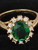 baratos Cintos de Moda-Mulheres Grupo Anel de declaração / Anel de noivado - Zircão, Chapeado Dourado Amor Luxo 7 / 8 Verde Escuro Para Casamento / Festa / Presente