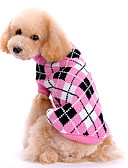 رخيصةأون ساعات رياضة-كلب البلوزات ملابس الكلاب جميل الدفء Plaid/Check زهري كوستيوم للحيوانات الأليفة