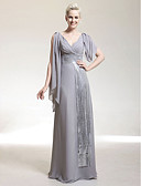 cheap Mother of the Bride Dresses-Sheath / Column V Neck Floor Length Chiffon / Sequined Celebrity Style Formal Evening Dress with Beading / Criss Cross by TS Couture®