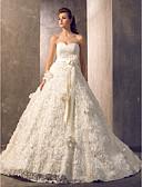 olcso Menyasszonyi ruhák-A-vonalú Szív-alakú Udvari uszály Tüll / Virágos csipke Made-to-measure esküvői ruhák val vel Selyemövek / Szalagok által LAN TING BRIDE®