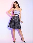 preiswerte Cocktailkleider-A-Linie Sweetheart Knie-Länge Spitze / Satin Cocktailparty / Abiball Kleid mit Spitze / Schärpe / Band / Plissee durch TS Couture®