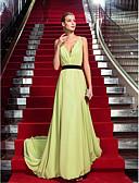 hesapli Gece Elbiseleri-Sütun Boyun eğme çizgisi Süpürge / Fırça Kuyruk Şifon Dantel / Yan Drape ile Resmi Akşam Elbise tarafından TS Couture® / Açık Sırtlı / Ünlü Stili