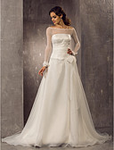 cheap Wedding Dresses-A-Line / Princess Off Shoulder Court Train Organza / Tulle Made-To-Measure Wedding Dresses with Bowknot / Ruched by LAN TING BRIDE®
