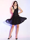preiswerte Cocktailkleider-A-Linie V-Ausschnitt Asymmetrisch Spitze Kleines Schwarzes Kleid Cocktailparty / Abiball Kleid mit Spitze / Plissee durch TS Couture®