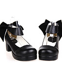 cheap Historical & Vintage Costumes-Lolita Shoes Classic Lolita Dress Handmade High Heel Shoes Solid 4.5 CM Black For PU Leather/Polyurethane Leather