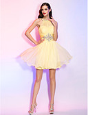 baratos Vestidos de Coquetel-Linha A Ilusão Decote Curto / Mini Chiffon Coquetel Vestido com Miçangas / Detalhes em Cristal / Franzido de TS Couture®