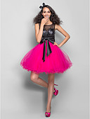 cheap Prom Dresses-A-Line / Princess Illusion Neck Short / Mini Tulle / Sequined Sparkle & Shine Prom Dress with Bow(s) / Ruched by TS Couture®