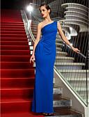 Χαμηλού Κόστους Βραδινά Φορέματα-Ίσια Γραμμή Ένας Ώμος Μέχρι τον αστράγαλο Ζέρσεϊ Ανοικτή Πλάτη / Στυλ Διασήμων Επίσημο Βραδινό Φόρεμα με Χάντρες με TS Couture®