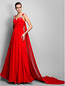 cheap Evening Dresses-A-Line V Neck Court Train Chiffon Formal Evening Dress with Crystals / Ruched by TS Couture®
