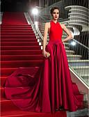 abordables Vestidos de Noche-Corte en A Halter Asimétrica Satén / Jersey Estilo de Celebridad / Inspiración Vintage Evento Formal Vestido con Lazo(s) por TS Couture®