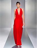 Χαμηλού Κόστους Φορέματα ειδικών περιστάσεων-Ίσια Γραμμή Βυθίζοντας το λαιμό Μακρύ Ζέρσεϊ Ανοικτή Πλάτη Χοροεσπερίδα / Επίσημο Βραδινό Φόρεμα με Πλαϊνό ντραπέ / Χιαστί με TS Couture®