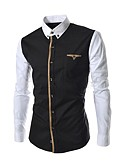 cheap Men's Shirts-Men's Business / Casual Cotton Slim Shirt - Patchwork Black & White, Formal Style Button Down Collar Black XL / Long Sleeve / Spring / Fall