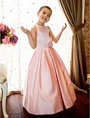 cheap Prom Dresses-A-Line / Princess Floor Length Flower Girl Dress - Satin Sleeveless Jewel Neck with Sash / Ribbon / Flower by LAN TING BRIDE®