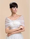 cheap Wedding Wraps-Sleeveless Organza Wedding Party Evening Wedding  Wraps With Flower Shrugs