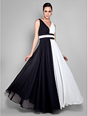 cheap Evening Dresses-Sheath / Column V Neck Floor Length Chiffon Color Block Prom / Formal Evening Dress with Ruched / Pleats by TS Couture®