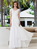 cheap Wedding Dresses-A-Line V Neck Sweep / Brush Train Georgette Made-To-Meature Wedding Dresses with Sash / Ribbon / Criss-Cross by LAN TING BRIDE®
