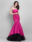 cheap Prom Dresses-Mermaid / Trumpet Strapless Floor Length Taffeta / Tulle Open Back / Celebrity Style Formal Evening Dress with Beading by TS Couture®