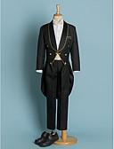 baratos Ternos para Pajem-Marfim Preto Poliéster Terno de Pajem - 5 Inclui Blazer Calças Faixa Larga Camisa Gravata Borboleta