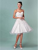 Χαμηλού Κόστους Νυφικά-Γραμμή Α / Πριγκίπισσα Καρδιά Μέχρι το γόνατο Οργάντζα / Σατέν Φορέματα γάμου φτιαγμένα στο μέτρο με Πιασίματα / Λουλούδι με LAN TING