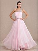 Χαμηλού Κόστους Βραδινά Φορέματα-Γραμμή Α Ένας Ώμος Μακρύ Σιφόν / Ελαστικό Σατέν Ανοικτή Πλάτη Χοροεσπερίδα / Επίσημο Βραδινό Φόρεμα με Χιαστί / Πιασίματα με TS Couture®