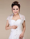 cheap Wedding Wraps-Short Sleeves Lace Wedding Party Evening Wedding  Wraps With Sequin Shrugs