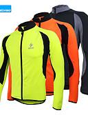 ieftine Rochii de Damă-Arsuxeo Bărbați Manșon Lung Jachetă Cycling - Negru / Portocaliu / Verde Bicicletă Jerseu, Keep Warm, Uscare rapidă, Design Anatomic Fleece / Respirabil / Înaltă Elasticitate / Căptușeală Din Lână