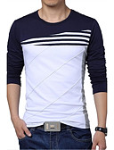 cheap Men's Sweaters & Cardigans-Men's Sports Active Plus Size Cotton Slim T-shirt - Striped / Color Block Black & White, Patchwork Round Neck / Long Sleeve