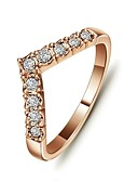 cheap Men's Shirts-Women's Statement Ring - Crystal, Gold Plated Love Simple Style 6 / 7 / 8 Silver / Golden For Wedding / Party / Daily