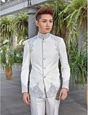hesapli Takım Elbiseler-Smokin Dar Kalıp Standart Kalıp Yaka Zirve Mandarin Yaka Tek Düğmeli Tek Sıra Düğmeli Daha Fazla Düğme Pamuklu Polyester Yün ve Polyester