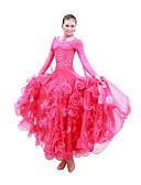levne Kostýmy na standard-Standardní tance Šaty Dámské Trénink Výkon Mercerovaná bavlna Flitry Dlouhý rukáv