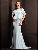 זול שמלות ערב-מעטפת \ עמוד עם תכשיטים שובל קורט סאטן שמלות חתונה עם כפתור על ידי LAN TING BRIDE®
