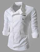 tanie Męskie koszule-Puszysta Koszula Męskie Bawełna Solidne kolory / Długi rękaw