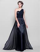 זול שמלות ערב-מעטפת \ עמוד כתפיה אחת עד הריצפה שיפון / סאטן נמתח שמלה לשושבינה  עם סרט / בד נשפך בצד / אסוף על ידי LAN TING BRIDE®