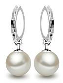 cheap Women's Sweaters-Women's Pearl Drop Earrings Hoop Earrings - Pearl, Sterling Silver Ball Dainty, Elegant, Bridal Pearl White / Screen Color For Wedding Party Gift