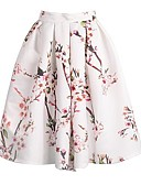 cheap Women's Skirts-Women's Silk A Line Skirts - Floral Pleated / Jacquard / Spring / Summer / Floral Patterns