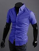 billige Herreskjorter-Tynd Herre - Ensfarvet Bomuld Skjorte