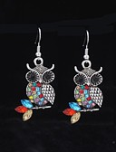 cheap Quartz Watches-Women's Synthetic Diamond Drop Earrings - Rhinestone Owl, Animal Green / Red For Wedding / Party / Daily