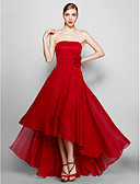cheap Evening Dresses-A-Line Strapless Asymmetrical Chiffon Formal Evening Dress with Flower by TS Couture®