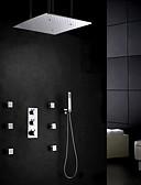 preiswerte Krawatten & Fliegen-Moderne Wandmontage Regendusche Verbreitete Handdusche inklusive Thermostatische Messingventil Drei Griffe Fünf Löcher Chrom,